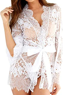 ✪Future-Lover✪ Womens Lingerie Sexy Long Lace Coat Kimono Robe Eyelash Babydoll Sheer Cover Up Dress with G-String, Belt