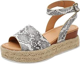 6913496d Luzoeo Sandalias Mujer Cuña Alpargatas Plataforma Bohemias Zapatos Romanos  Verano 2019 Mujer Cuero de PU Hebilla