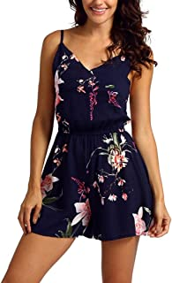 627c29d3bbb UOFOCO Jumpsuits forWomens Summer Rompers Print Sleeveless Playsuit Holiday  Ladies