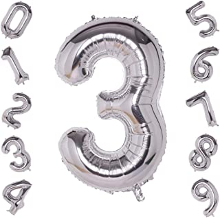 40 Inch Giant Silver Number 3 Balloon,Foil Helium Digital Balloons for Birthday Anniversary Party Festival Decorations