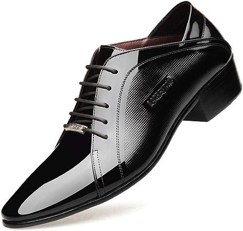 Chaussure Derby Cuir Homme Lacets Mariage Robeing Oxford Affaires Cuir Vernis Vintage Mode Uniforme Noir Marron