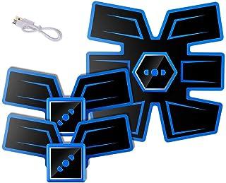 腹筋刺激装置、インテリジェントな音声ブロードキャストとUSB充電、Esther Beauty EMSトレーナー筋肉トナー腹部調色ベルトフィットネス機器 (Color : Ordinary-Blue1, Size : C)