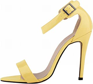 Wotefusi Women Summer Patent Leather Open Toe Bandage Ankle Strap Party Club Sandals Orange 11B(M) US