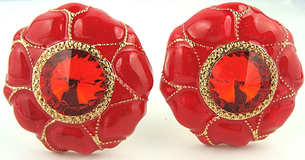 Red Enamel Large Red Crystal Gold Bead Accent Clip on Earrings