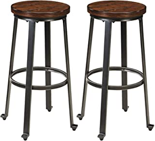 Ashley Furniture Signature Design - Challiman Bar Stool - Pub Height - Set of 2 - Rustic Brown