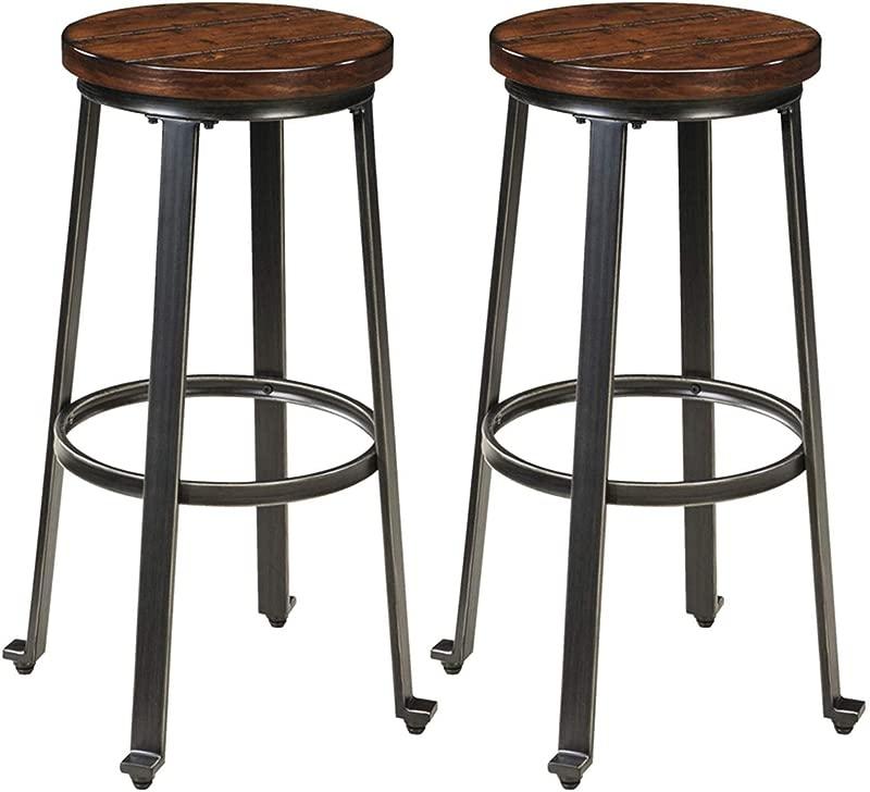 Ashley Furniture Signature Design Challiman Bar Stool Pub Height Set Of 2 Rustic Brown