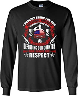 Long Sleeve Adult T-Shirt I Proudly Stand for Our National Anthem Soldier DT