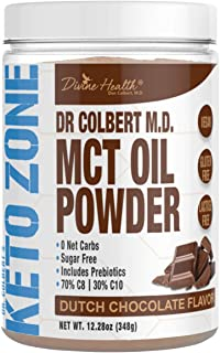 Dr. Colbert's Keto Zone MCT Oil Powder | Dutch Chocolate Flavor | 70 % C8 | 30% C10 | All Natural Keto Approved for Ketosi...