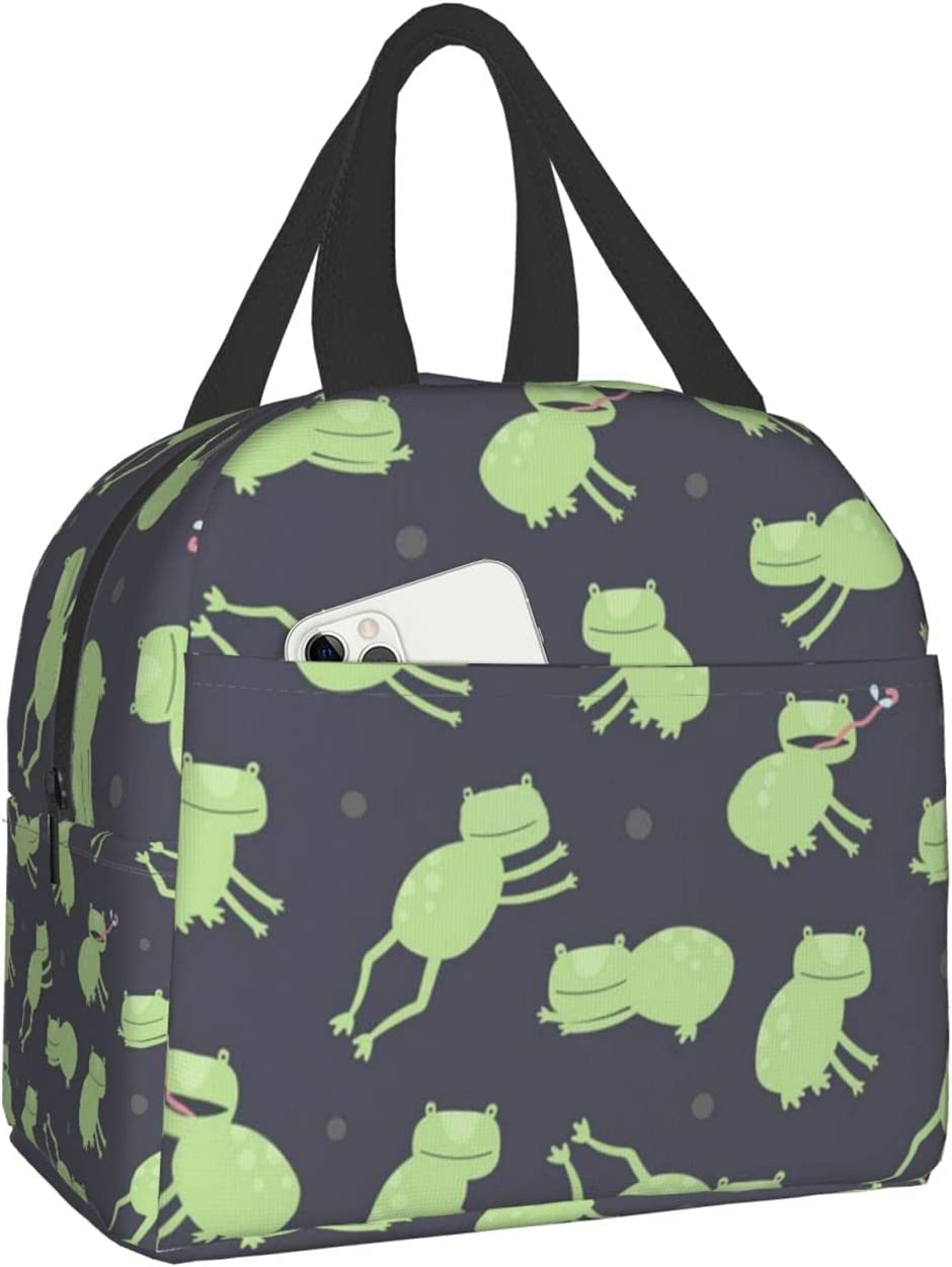 Animal Colorful Super popular specialty Memphis Mall store Cute Frog Dots Lunch Bento Bag Picnic Box Travel