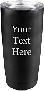 Customized 3D Laser Engraved Personalized Custom Polar Camel 20 oz. Vacuum Insulated Tumbler Mug with Clear Lid (Black)