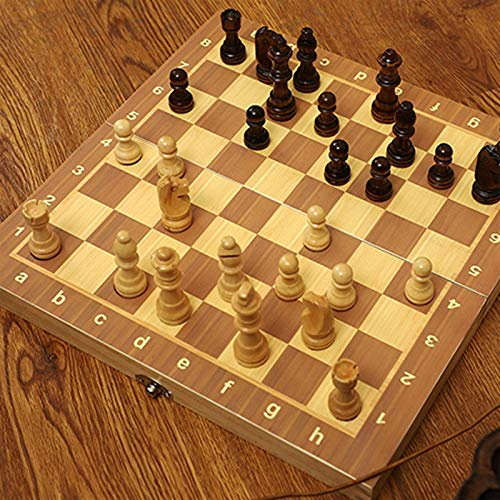 WAYYQX Juego ajedrez Madera Ajedrez De Madera Madera Plegable Magnetics Log Caja Ajedrez Conjunto Ajedrez Plegable Madera Juego Ajedrez 39cm * 39cm Festival Niños Regalo Juego Piezas Ajedrez