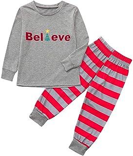 4773a807e6 FEDULK Matching Family Christmas Boys Girls Pajamas Striped Sleepwear  Nightwear Holiday Pjs Sets