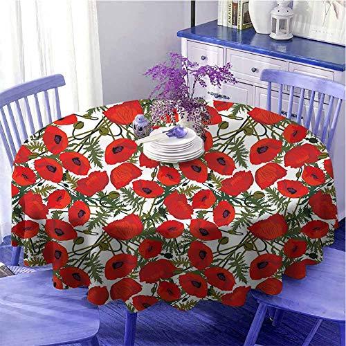 Poppy Elegante tovaglia rotonda con motivo floreale astratto con fogliame da giardino, bouquet botanico biologico, decorazione per le vacanze, diametro 139,7 cm, verde, rosso, bianco