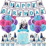 Frozen Fiesta Cumpleaños Decoración - WENTS 47PCS Azul Fiesta Guirnalda de Globos Cake Cupcake Topper Banner para Niñas Frozen Cumpleaños Fiesta Suministros