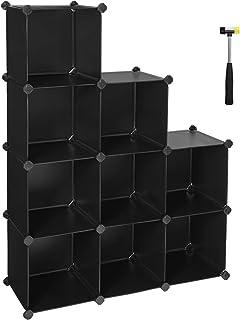 SONGMICS Étagère de Rangement à 9 Cubes-Organisateur à Monter soi-même-Panneaux en Plastique PP Chaussures pour Chambre à ...