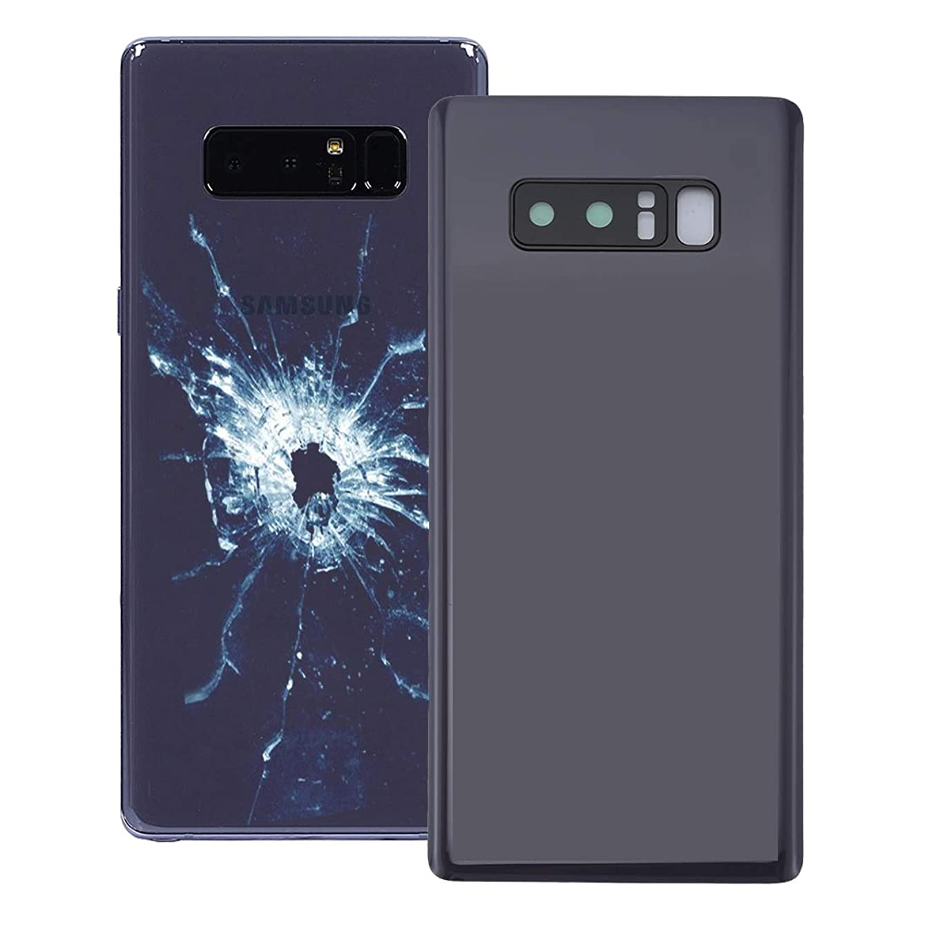 YUANLI Phone Spare Part Back Cover with Camera Lens Cover for Galaxy Note 8(Black) (Color : Grey)