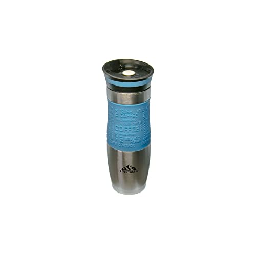 Luckyberg Travel Mug, One-Handed Open and Drink Coffee or Tea, Very High Quality, Double Walled and Leakproof for Any Hot and Cold Drink (480 ml, 16 oz (Light Blue)