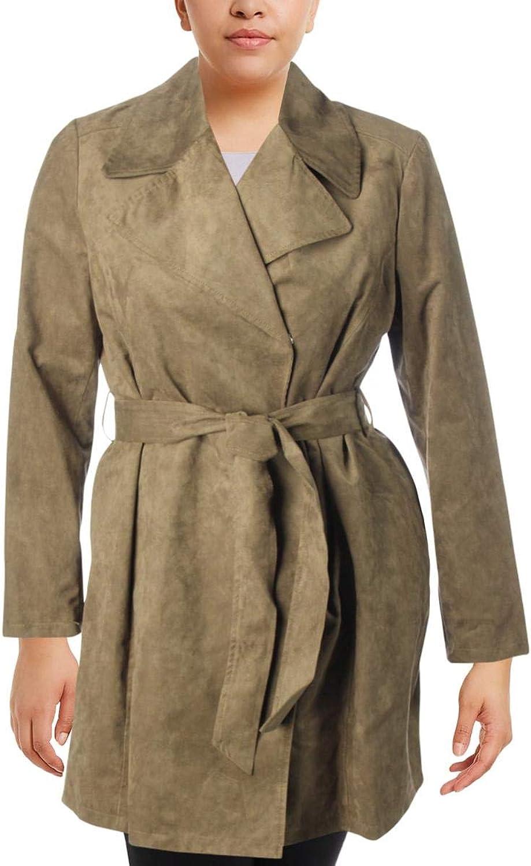 Karl Lagerfeld Paris Womens Fall Faux Suede Midi Coat