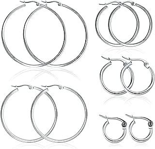 Miraculous Garden 5 Pairs Stainless Steel Hoop Earrings Set for Women Girls(15mm-50mm)