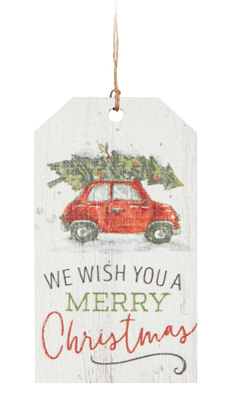 P. Graham Dunn We Wish You A Merry Christmas Vintage Car 2 x 3.5 Wood Tag Ornament