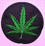 Parche bordado de tela para planchar con marihuana de cannabis verde