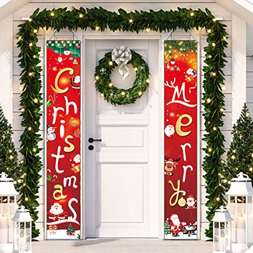 Merry Christmas Banner Outdoor Christmas Decorations for Home - Modern Farmhouse Christmas Decor - Red Porch Signs - Rustic Xmas Banner for Indoor Outside Front Door Living Room Kitchen Wall Party