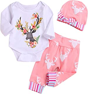Newborn Baby Girl Floral Clothes 3/4 Sleeve Deer Bodysuit Top+Long Pant+Hat Outfit Set