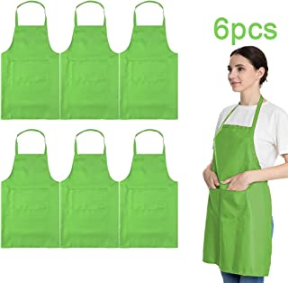 LOYHUANG Total 6PCS Bib Apron Adult with 2 Pockets for Women Men Chef Painting Cooking Kitchen(6, Apple Green)