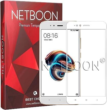 NETBOON Tempered Glass Screen Protector Edge to Edge Full Cover Gorilla Guard for Xiaomi Mi A1 (White)