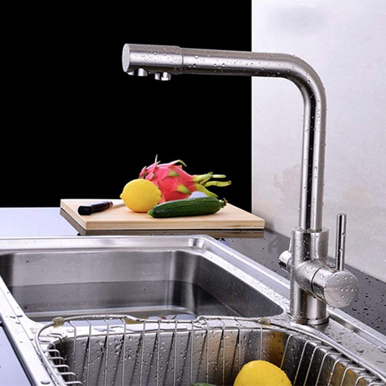 FZHLR Bürsten-Nickel Dual-Halter-Einzelnes Loch Ceramic Reines Trinkwasser-Filter-Hahn-Küche 3-Wege-Mischer 360 Grad Schwenkbar Torneira Cozinha