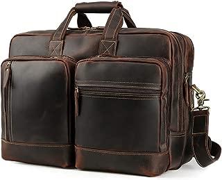Men's Vintage Leather Messenger Satchel Casual Multi-Purpose School Case Tablet Travel Weekender Business 17 Inch Laptop Computer Handmade Briefcase Shoulder Crossbody Bag Tote Handbag Luggage Brown