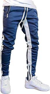 [セカンドルーツ] メンズ トラックパンツ ライン ジャージ スリム スウェット トレーニングウェア ファスナー付き M~3XL