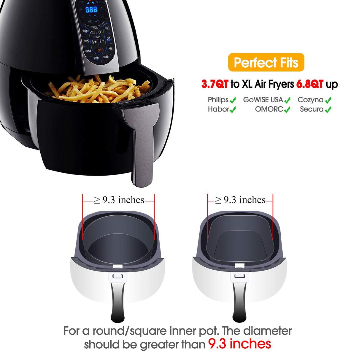 8 Inch Air Fryer Accessories Fit all 4.2QT-5.3QT-5.8QT-6.8QT Air Fryer 13 Pcs Deep Fryer Accessories with Recipe Cookbook for Growise Phillips Cozyna Airfryer