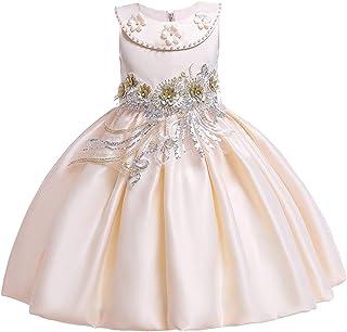 IBTOM CASTLE Little Girls Satin Embroidered Birthday Princess Wedding Party Flower Girl Dresses Formal Pageant Tutu Gown