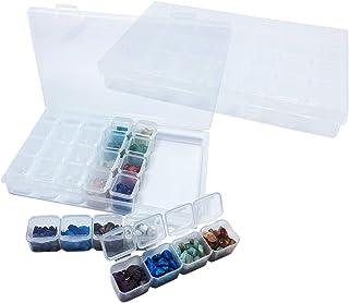 28格 仕切り ジュエリーボックス ダイヤモンド ネイル小物入れ 収納ケース 透明 収納 プラスチック 2個セット