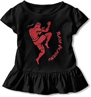 JVNSS Boxing and Kickboxing Shirt Funny Infant Girl Flounced T Shirts Tee Shirts for 2-6T Kids Girls