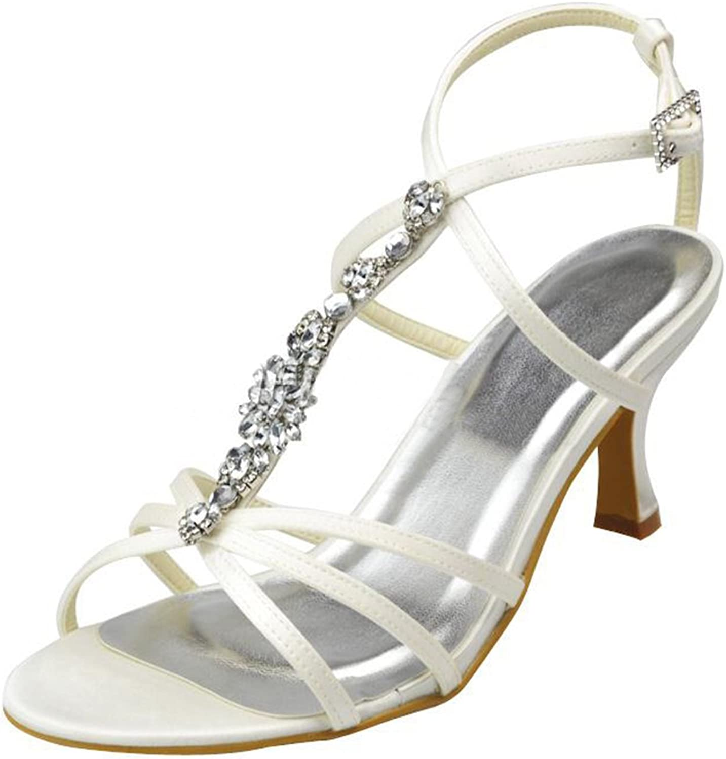 Minishion Girls Womens T-Strap Rhinestones Satin Bridal Wedding Evening Sandals