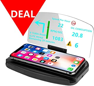 DECVO Head Up Display,Vehicle Car Dash HUD Phone GPS Navigation Support Image Reflector 3 in 1 (Fast Wireless Charger), Cellphone Holder Mount Reflective Film for Samsung Galaxy,iPhone ETC (Black)