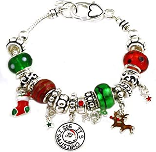 """I see it's Christmas"" Murano Glass Beaded Charm Bracelet"