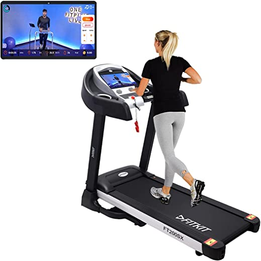 Fitkit FT200SX (4.5HP Peak) DC-Motorised Treadmill ( Max Speed:14km/hr, Incline: Auto, Max Weight: 110 Kg ) With Free Home Installation and Connected Live Interactive Sessions by Onefitplus