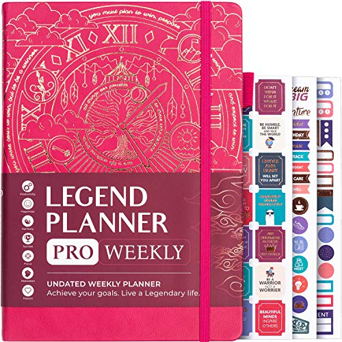 """Legend Planner PRO – Deluxe Weekly & Monthly Life Planner to Increase Productivity and Hit Your Goals. Time Management Organizer Notebook – Undated – 7 x 10"""" Hardcover + Stickers – Hot Pink"""