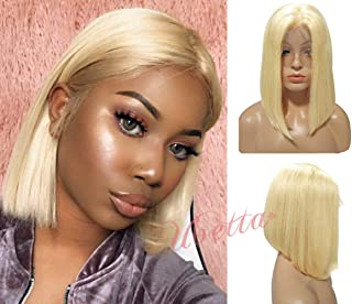 Blonde Wig Short Bob Human Hair Pre Plucked 613 Lace Front Wig Glueless 13x4 Lace Bob Straight Wig Brazilian Virgin Hair Middle Part with Baby Hair for Black Women 180% Density Full Head Wig 8