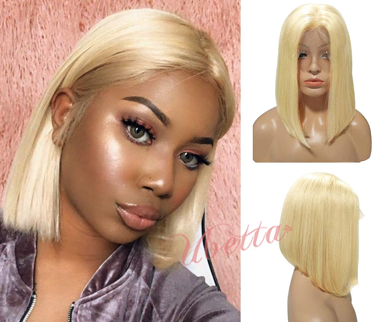 Blonde Bob Lace Front Human Hair Wig Pre Plucked with Baby Hair 10Inch Glueless 13x4 Brazilian Virgin Hair Straight 613 Lace Wig Bleached Knots Middle Part 180% Density Colored Bob Wig for Black Women