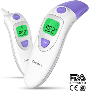 Baby Forehead Thermometer with Ear Function, Cocobear 4 in 1 Digital Infrared Thermometer with Fever Alert Silent Mode for Baby Kid and Adult - CE and FDA Approved