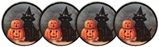 Halloween Melamine Dinner Plates Set of Four 11 Dinner Plates or 6 Dessert Plates (Black Cat Witches Hat Pumpkin 6)