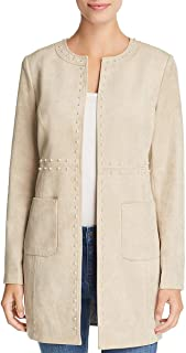 Karl Lagerfeld Womens Faux Suede Embellished Topper Jacket