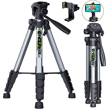 "Endurax 66"" Video Camera Tripod for Canon Nikon Lightweight Aluminum Travel DSLR Camera Stand with Universal Phone Holder Mount and Carry Bag"
