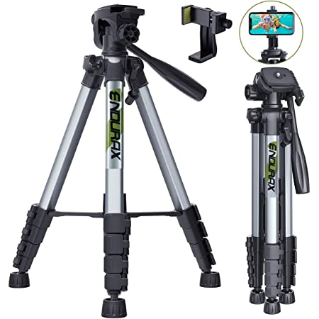"""Endurax 66"""" Video Camera Tripod Compatible with Canon Nikon Lightweight Aluminum Travel DSLR Camera Stand with Universal Phone Holder Mount and Carry Bag"""