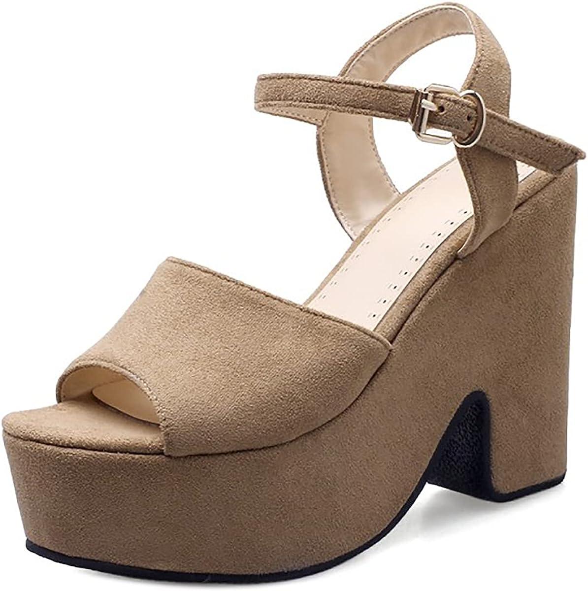 Popular brand NueiVeiuo Women Platform Sandals Popular overseas Chunky Ankle Heels Strap Shoes