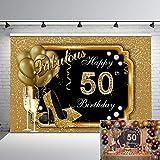 Mehofoto Happy 50th Birthday Backdrop Glitter...